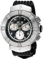 Charriol Men's 'Celtica' Swiss Quartz Stainless Steel and Rubber Dress Watch, Color:Black (Model: C44S.173.001)