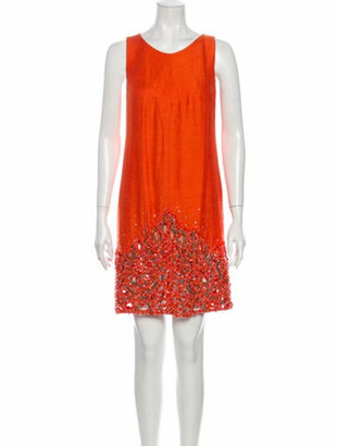 Norman Ambrose Scoop Neck Mini Dress Orange