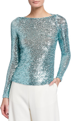 Naeem Khan Sequined Long-Sleeve Top