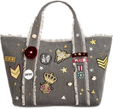 Steve Madden Grady Large Canvas Tote with Patches and Pins