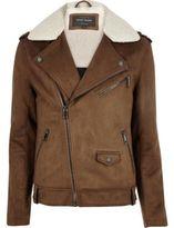 River Island Mens Light Brown borg collar biker jacket