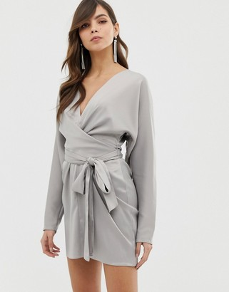 Asos Design DESIGN mini dress with batwing sleeve and wrap waist in satin-Grey