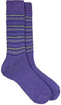 Barneys New York Men's Striped Cashmere-Blend Socks-PURPLE, GREY, BLUE