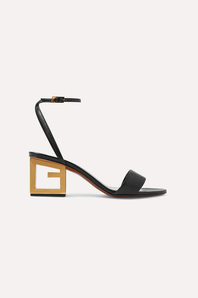 Givenchy Triangle Leather Sandals - Black