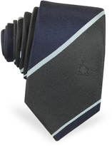 Lanvin Dark Blue & Black Diagonal Stripe Pure Silk Narrow Tie