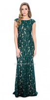 Decode 1.8 Classic Cap Sleeve Lace Evening Dress with Sweep Train