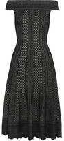 Alexander McQueen Off-the-shoulder Jacquard-knit Dress - Black