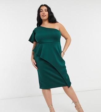 True Violet Plus one shoulder midi dress in emerald