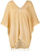Forte Forte cropped sleeve trapeze sweater - women - Linen/Flax - 0
