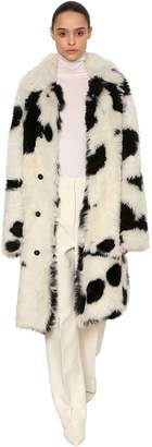 Jil Sander PRINTED FAUX FUR COAT