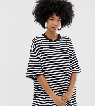 Weekday huge t shirt dress in navy and white stripe
