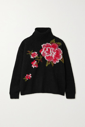 RED Valentino Embroidered Knitted Turtleneck Sweater - Black