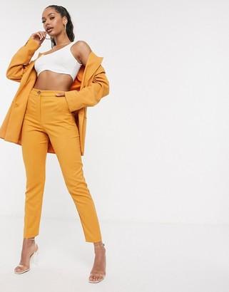 ASOS DESIGN slim suit pants in textured mustard