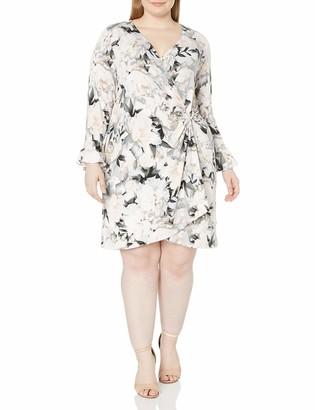 Calvin Klein Women's Plus Size Printed Wrap Flare Sleeve