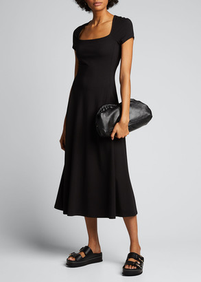 Theory Square-Neck Short-Sleeve Sculptured Long Dress