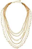 Nakamol Multi-Strand Pearl & Golden Bead Necklace