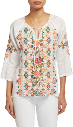Johnny Was Chandra Embroidered Linen Peasant Blouse