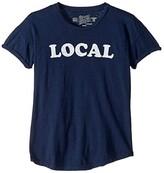 Original Retro Brand The Kids Local Rolled Short Sleeve Slub Tee (Big Kids) (Navy) Girl's Clothing