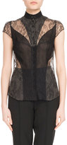 Olivier Theyskens Cap-Sleeve Lace Blouse
