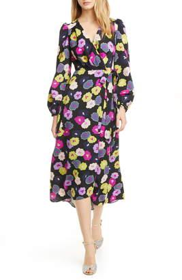 Kate Spade Winter Garden Long Sleeve Wrap Dress