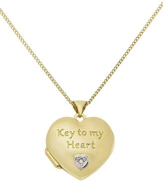 Moon & Back Diamond Accent 2 Photo Locket 18 Inch Necklace