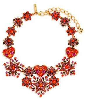 Oscar de la Renta Red and Purple Crystal Star and Heart Statement Necklace