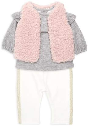 Miniclasix Baby Girl's Three-Piece Faux Fur Vest, Top & Leggings Set