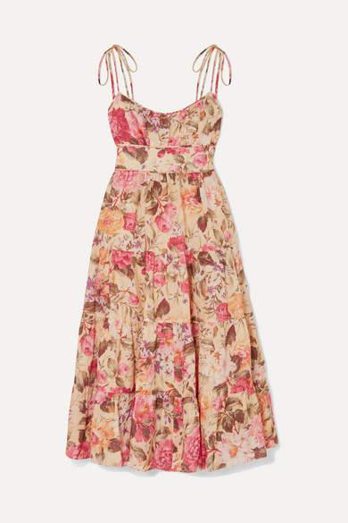 Zimmermann Honour Floral-print Linen Dress - Yellow