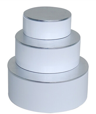 BIDKhome Set Of 3 Round Boxes With Silver Leaf Lacquer Lid