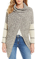 RD Style Draped Mock Neck Long Sleeve Button Front Cardigan