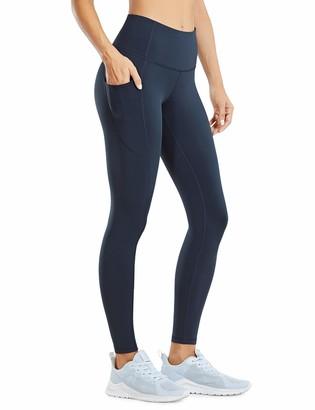 CRZ YOGA Women's Compression Leggings with Pockets Tummy Control Workout Leggings Hugged Feeling Tights - 25 inches Khaki Fog 6