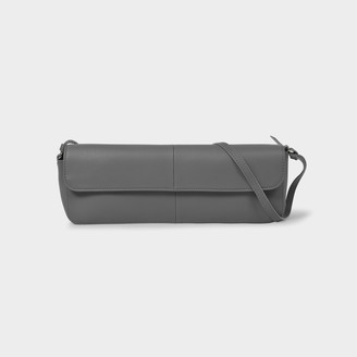 Abra Big Baguette Bag In Grey Leather