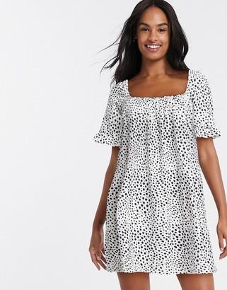 ASOS DESIGN square neck mini smock dress with frill sleeve in spot print