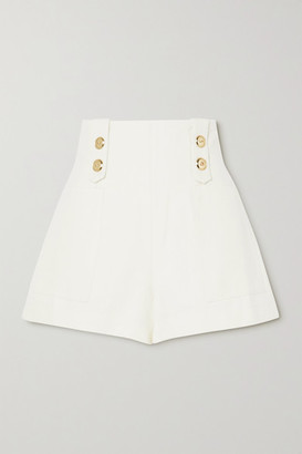 ARTCLUB - Vita Button-embellished Cotton And Linen-blend Shorts - Ivory