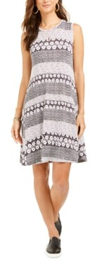 Style&Co. Style & Co Printed Crewneck Dress, Created for Macy's
