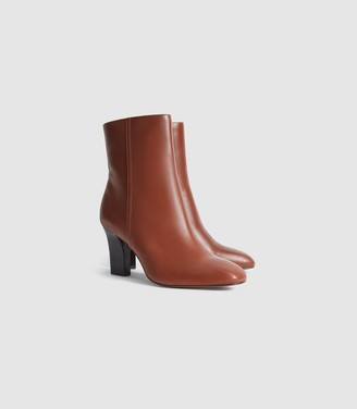 Reiss Ruby - Leather Ankle Boots in Tan