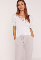Missguided Lace Up Detail V Neck T Shirt White