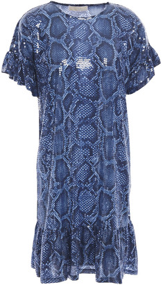MICHAEL Michael Kors Ruffled Sequined Snake-print Stretch-jersey Mini Dress