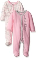 Calvin Klein Baby-Girls Newborn 2 Packs Sleep Stretches Pink and Gray