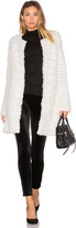 Adrienne Landau Knit Rabbit Fur Coat