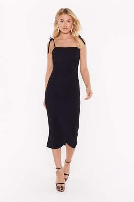 Nasty Gal Womens Slit's My Life Tie Ribbed Midi Dress - black - 4