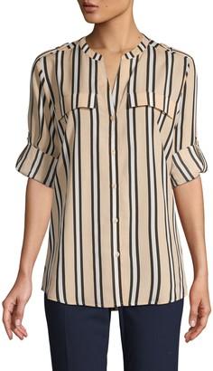 Calvin Klein Striped Splitneck Utility Blouse