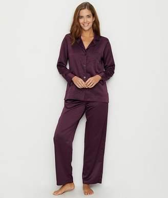 Lauren Ralph Lauren Notch Collar Satin Pajama Set