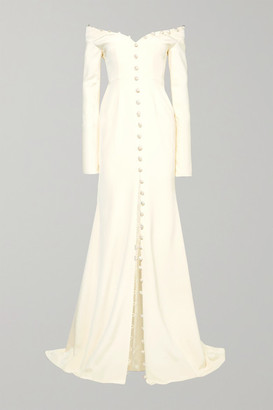 DANIELLE FRANKEL Off-the-shoulder Pearl-embellished Silk-crepe Gown - Ivory