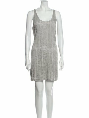Halston Scoop Neck Mini Dress w/ Tags Silver