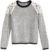 GUESS Lace-Trim Herringbone Sweater, Big Girls (7-16)