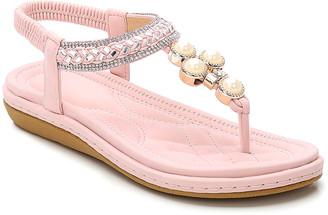 Siketu Women's Sandals Pink - Pink Pearl Metallic Rhinestone Braid T-Strap Sandal - Women