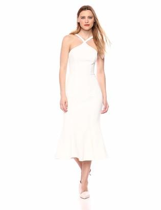 Dress the Population Women's Tessa Spaghetti Strap Halter Mermaid Fitted Midi Dress