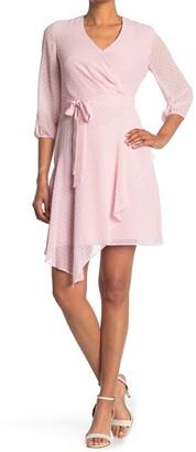 Nanette Lepore 3/4 Length Sleeve Wrap Dress