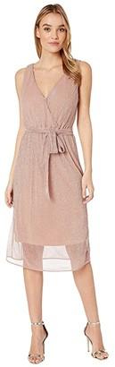 BB Dakota Love To Love You Lurex Pleated Knit Midi Dress (Rose Quartz) Women's Dress